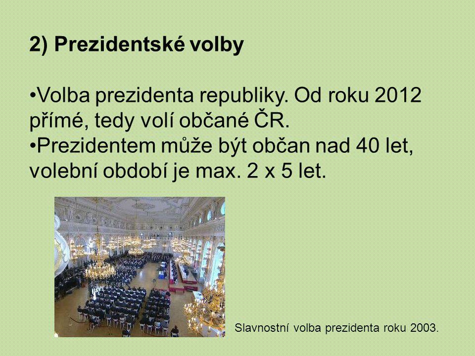 Volba prezidenta republiky. Od roku 2012 přímé, tedy volí občané ČR.