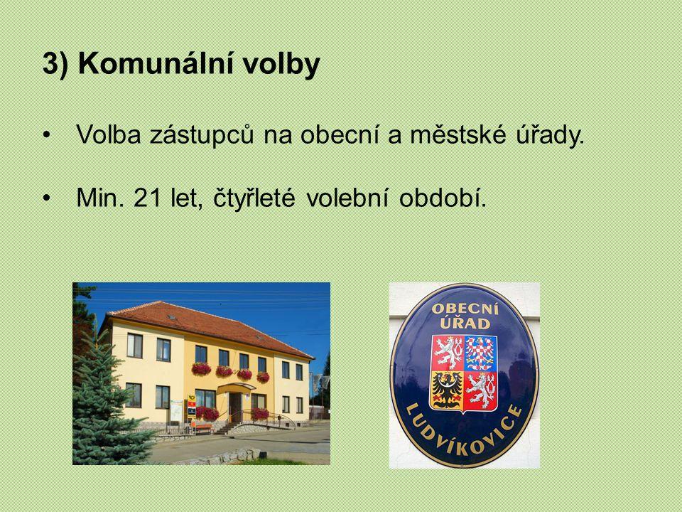 3) Komunální volby Volba zástupců na obecní a městské úřady.