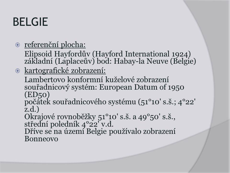 BELGIE referenční plocha: