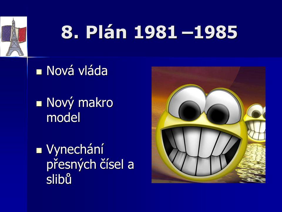 8. Plán 1981 –1985 Nová vláda Nový makro model