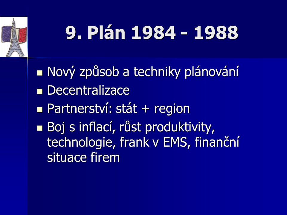 9. Plán 1984 - 1988 Nový způsob a techniky plánování Decentralizace
