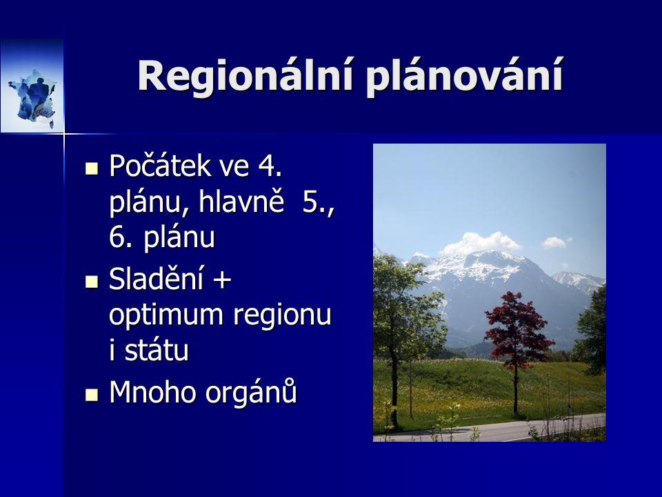 Regionální plánování Počátek ve 4. plánu, hlavně 5., 6. plánu