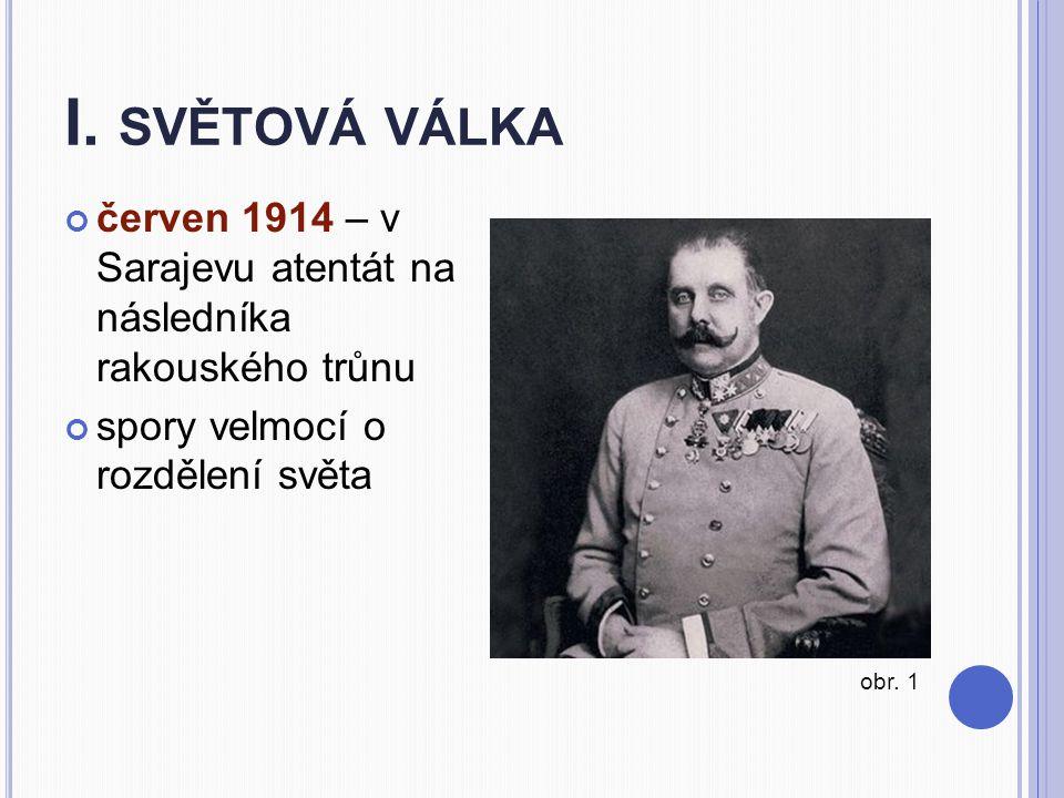 I. světová válka červen 1914 – v Sarajevu atentát na následníka rakouského trůnu. spory velmocí o rozdělení světa.
