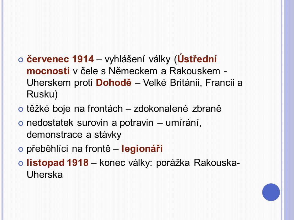 červenec 1914 – vyhlášení války (Ústřední mocnosti v čele s Německem a Rakouskem - Uherskem proti Dohodě – Velké Británii, Francii a Rusku)