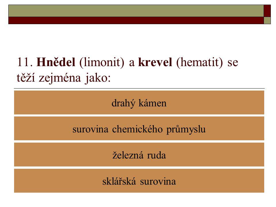 11. Hnědel (limonit) a krevel (hematit) se těží zejména jako: