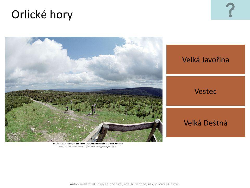 Orlické hory Velká Javořina Vestec Velká Deštná