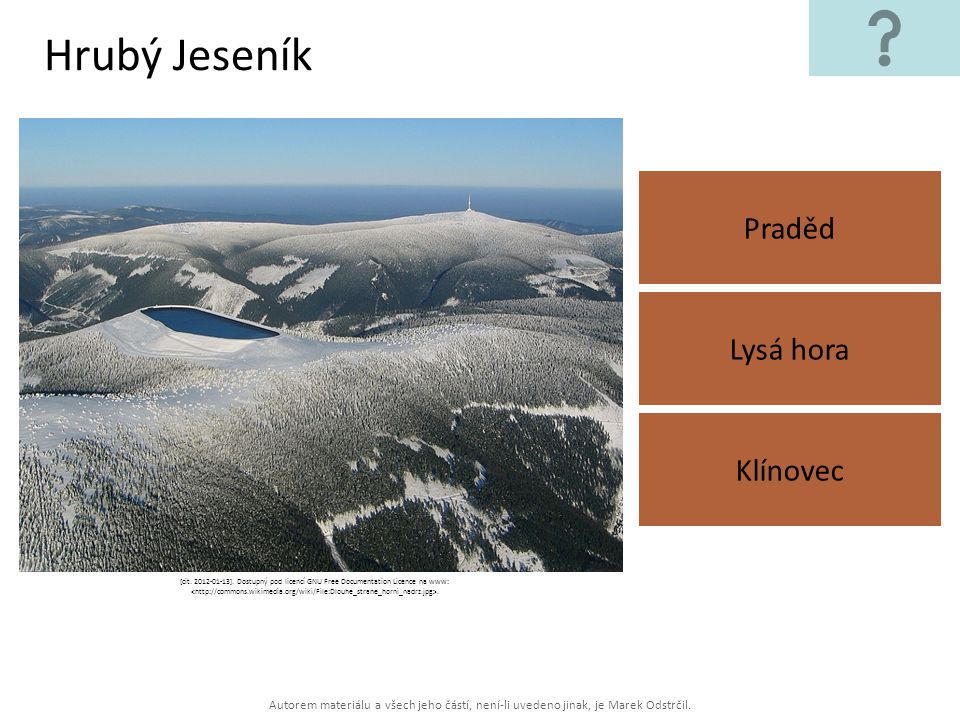 Hrubý Jeseník Praděd Lysá hora Klínovec