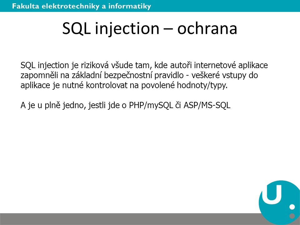 SQL injection – ochrana