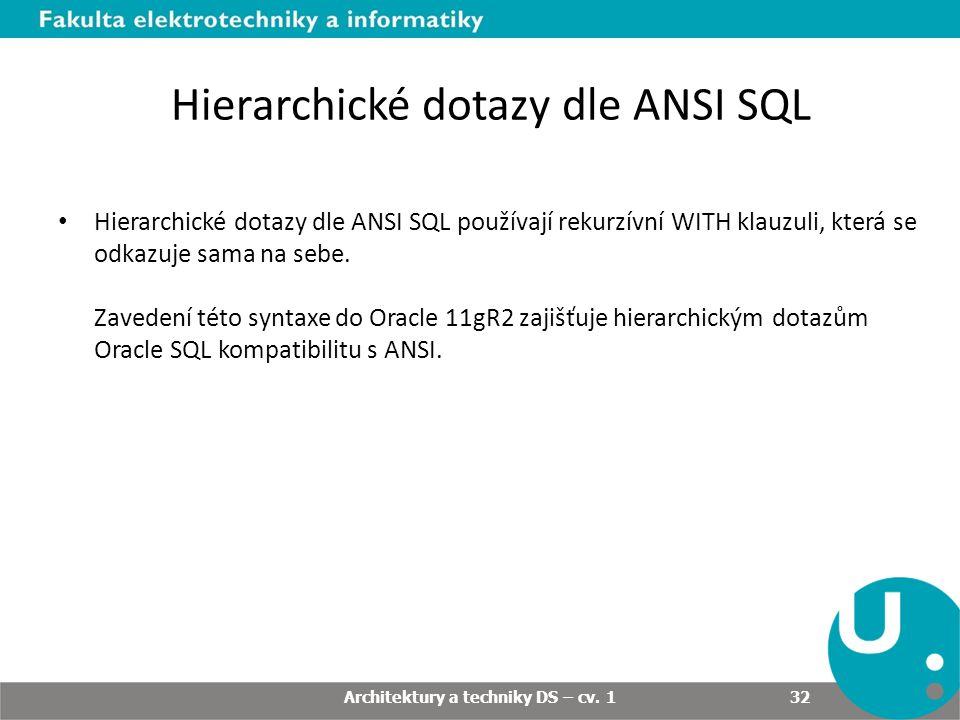 Hierarchické dotazy dle ANSI SQL