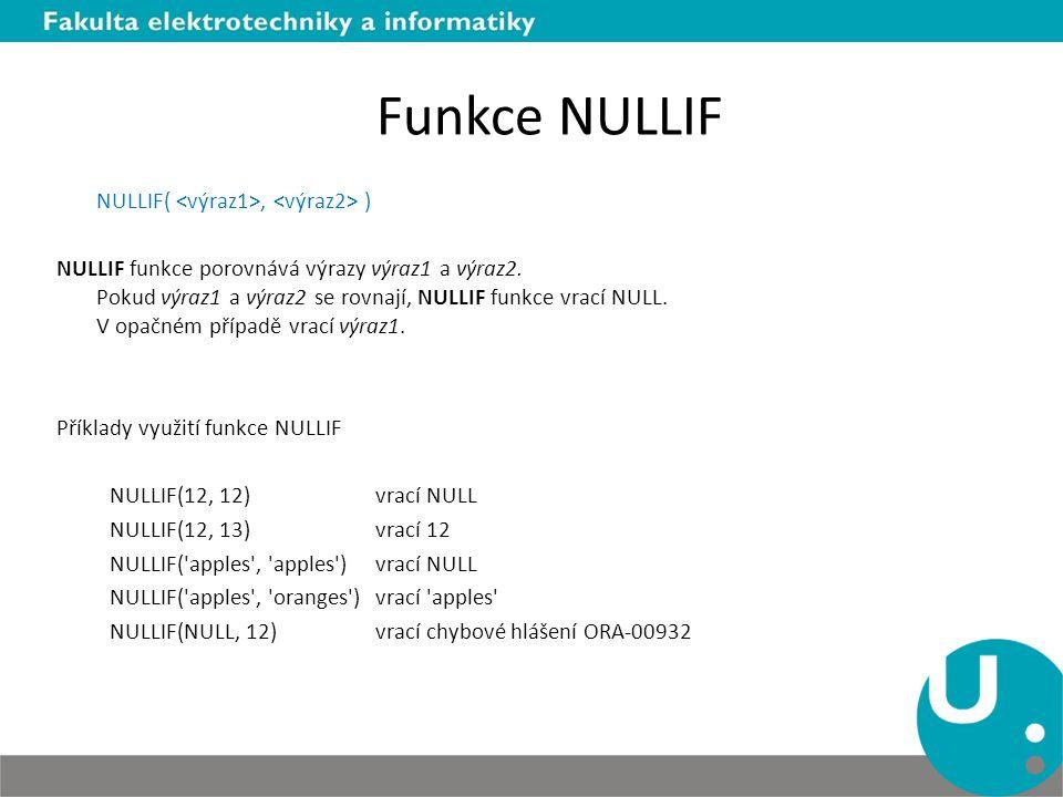 Funkce NULLIF