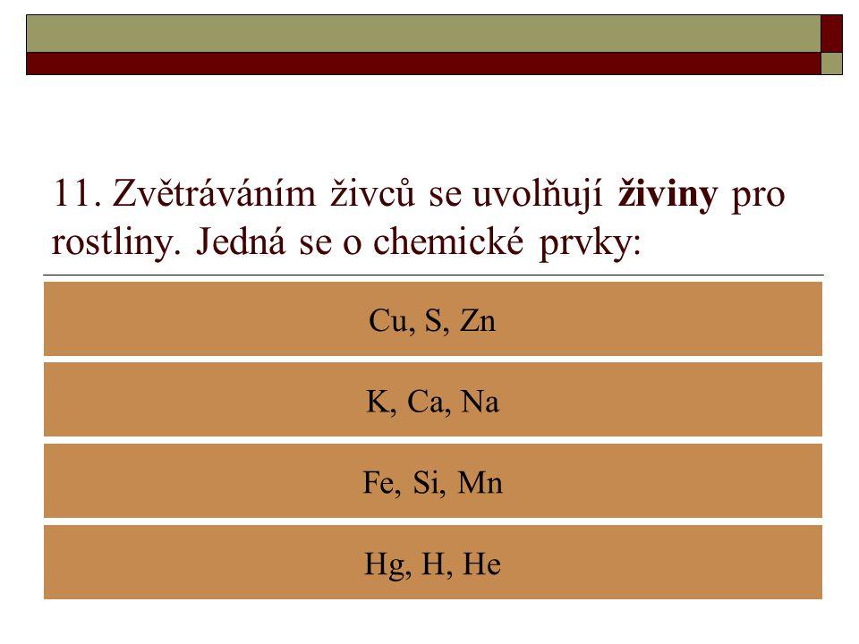 11. Zvětráváním živců se uvolňují živiny pro rostliny