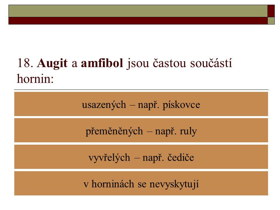 18. Augit a amfibol jsou častou součástí hornin: