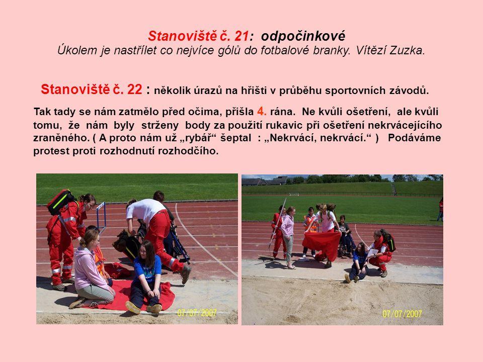 Úkolem je nastřílet co nejvíce gólů do fotbalové branky. Vítězí Zuzka.