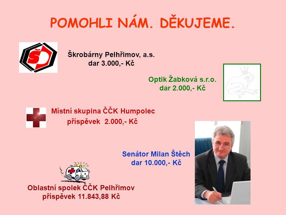 POMOHLI NÁM. DĚKUJEME. Škrobárny Pelhřimov, a.s. dar 3.000,- Kč