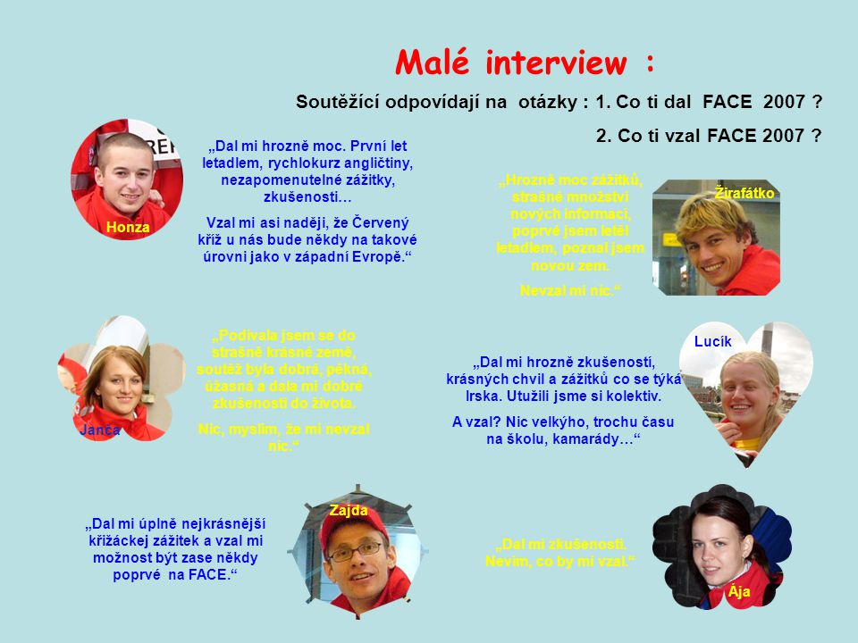 Malé interview : Soutěžící odpovídají na otázky : 1. Co ti dal FACE 2007 2. Co ti vzal FACE 2007