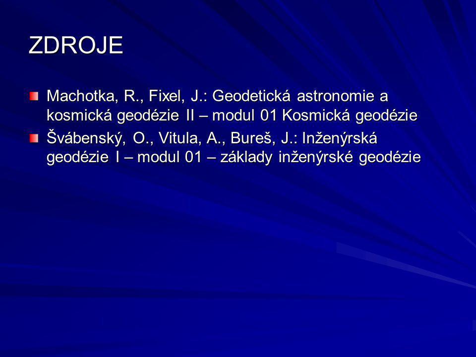 ZDROJE Machotka, R., Fixel, J.: Geodetická astronomie a kosmická geodézie II – modul 01 Kosmická geodézie.