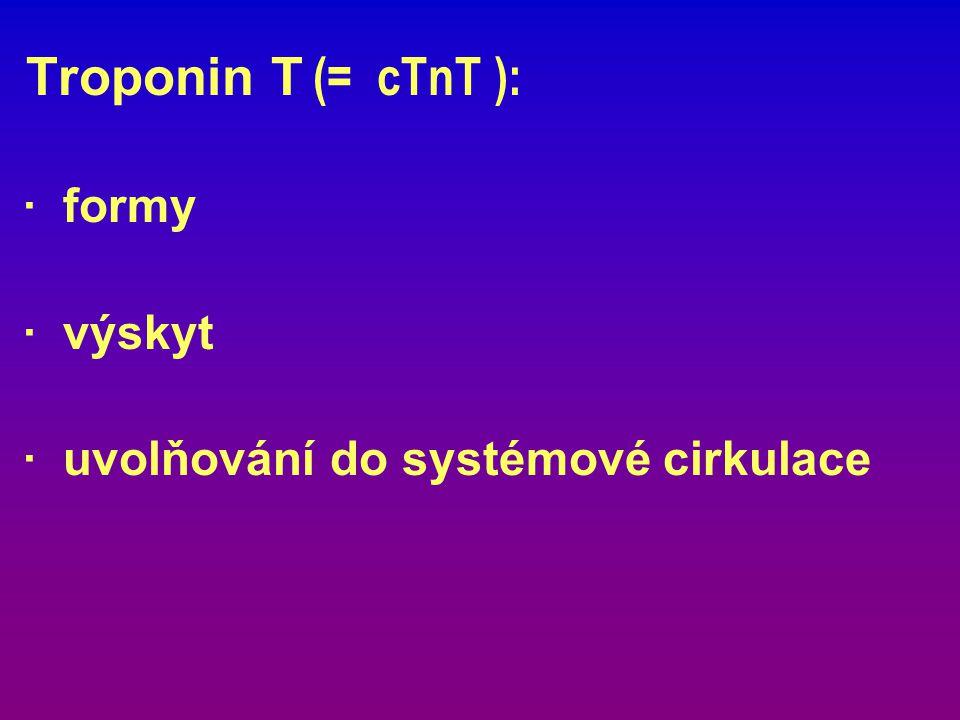 Troponin T (= cTnT ): · formy · výskyt