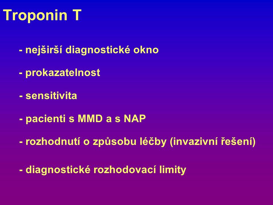 Troponin T - nejširší diagnostické okno - prokazatelnost - sensitivita