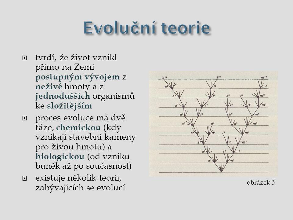 Evoluční teorie tvrdí, že život vznikl přímo na Zemi postupným vývojem z neživé hmoty a z jednodušších organismů ke složitějším.