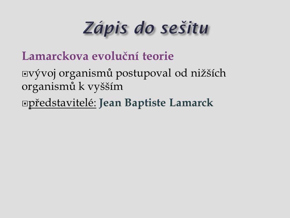 Zápis do sešitu Lamarckova evoluční teorie