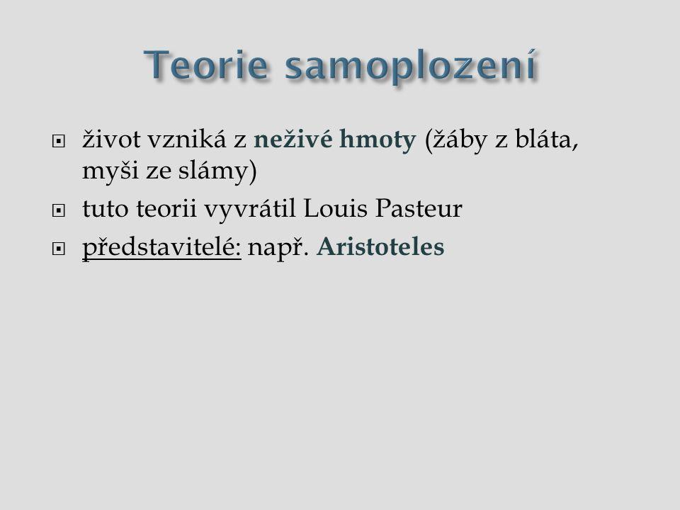 Teorie samoplození život vzniká z neživé hmoty (žáby z bláta, myši ze slámy) tuto teorii vyvrátil Louis Pasteur.