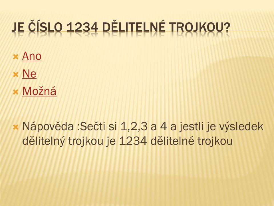 Je číslo 1234 dělitelné trojkou
