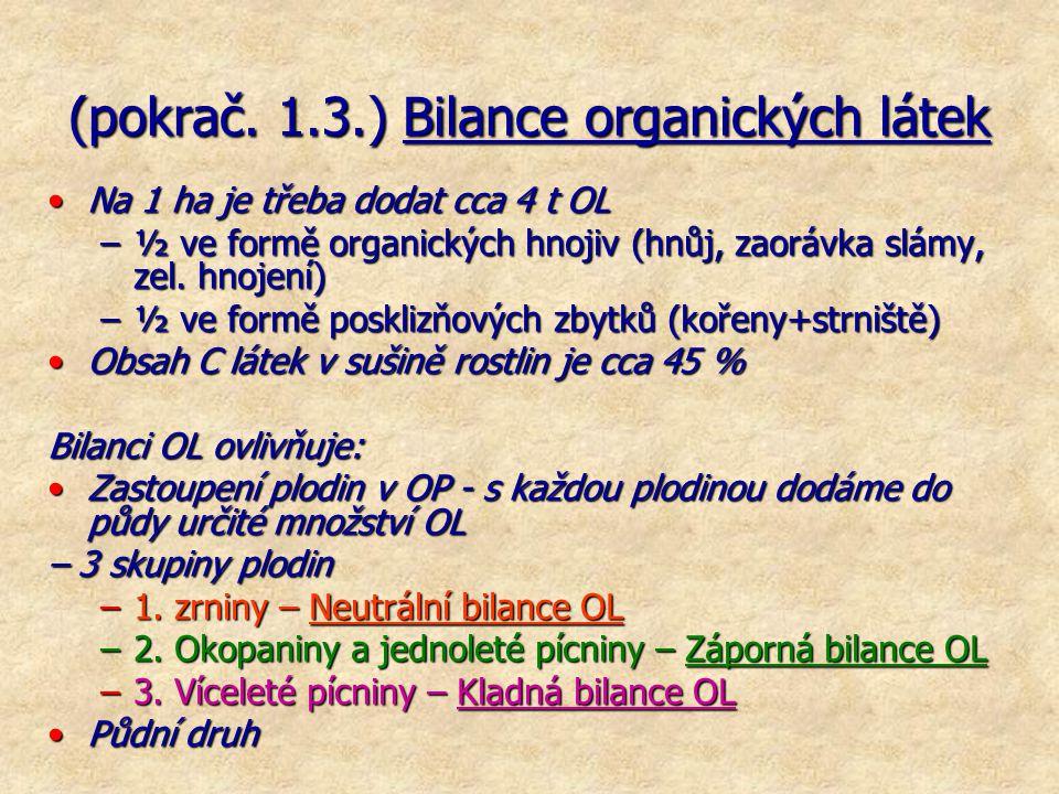 (pokrač. 1.3.) Bilance organických látek