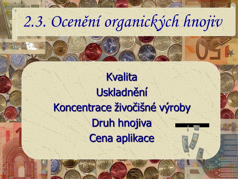 2.3. Ocenění organických hnojiv