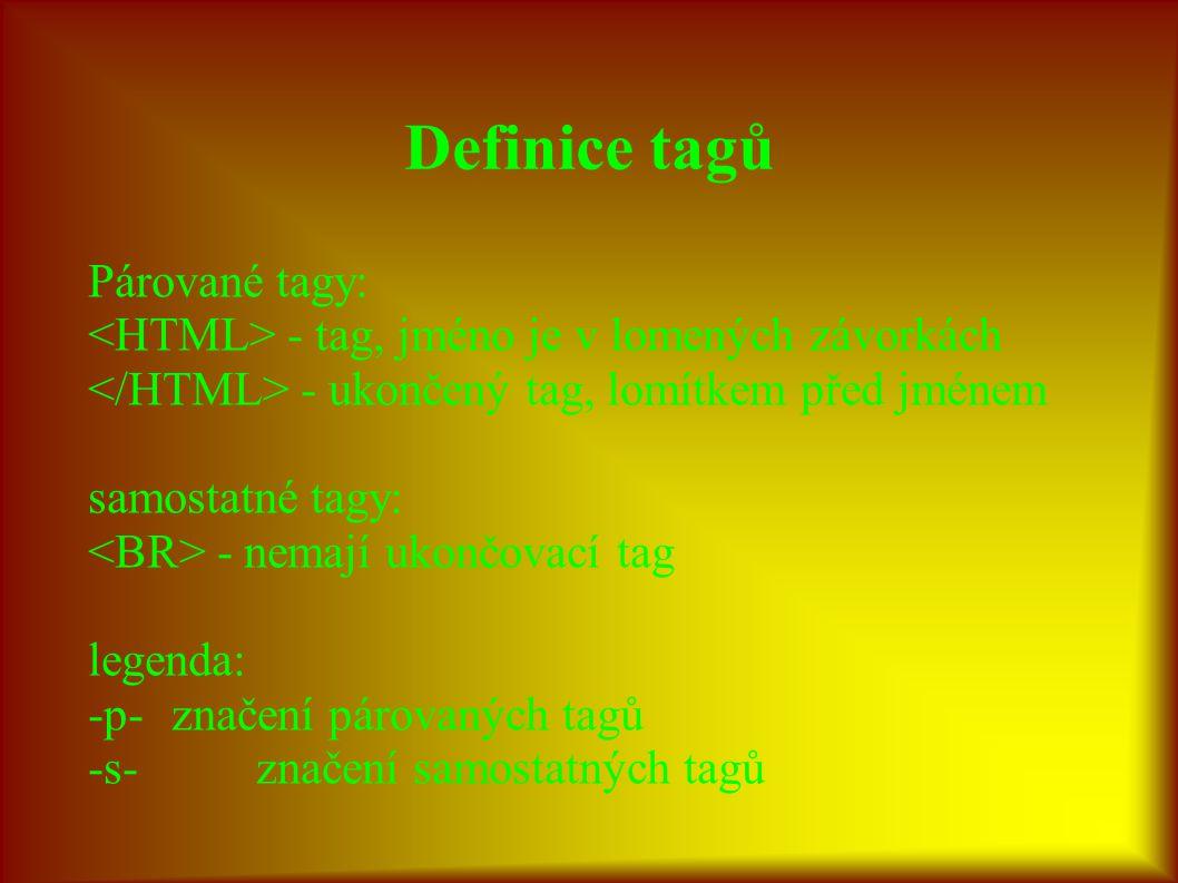 Definice tagů Párované tagy: