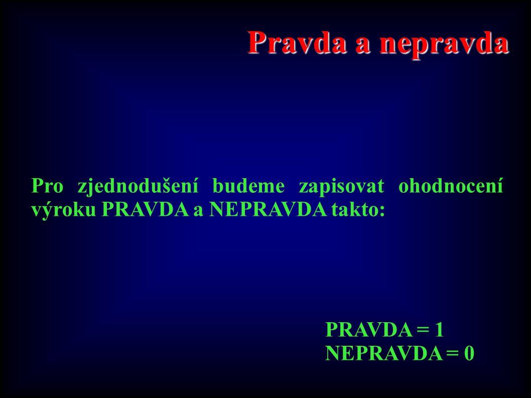 Pravda a nepravda Pro zjednodušení budeme zapisovat ohodnocení výroku PRAVDA a NEPRAVDA takto: PRAVDA = 1.