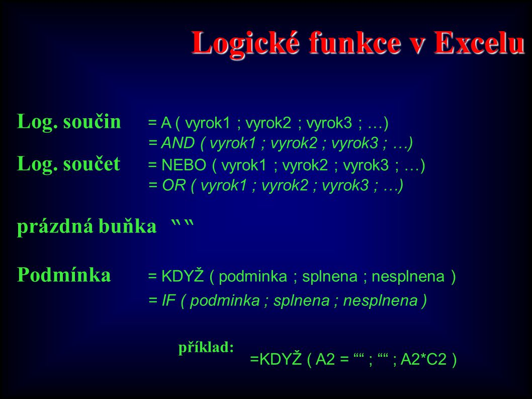 Logické funkce v Excelu