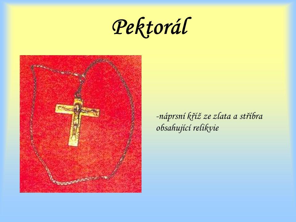 Pektorál náprsní kříž ze zlata a stříbra obsahující relikvie