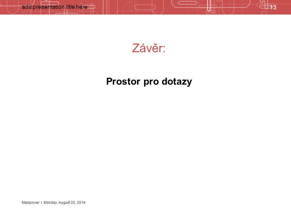 Závěr: Prostor pro dotazy add presentation title here