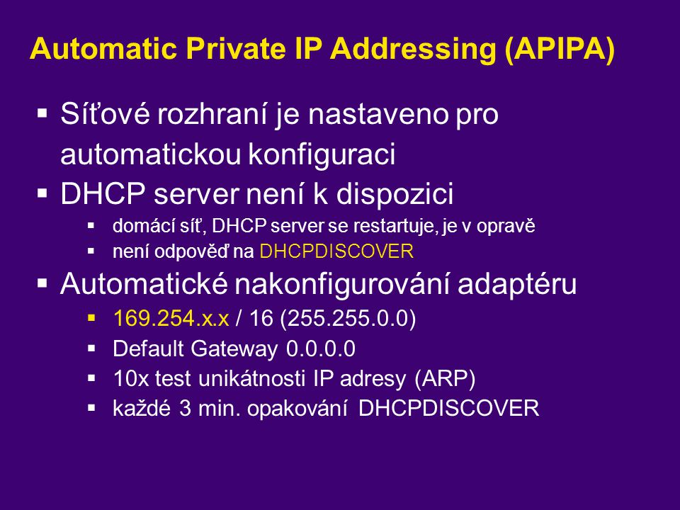 Automatic Private IP Addressing (APIPA)