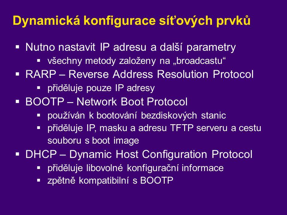 Dynamická konfigurace síťových prvků