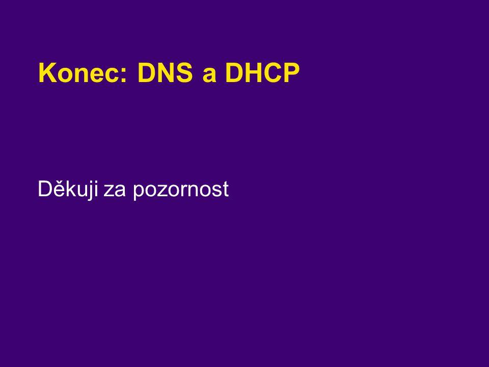 Konec: DNS a DHCP Děkuji za pozornost
