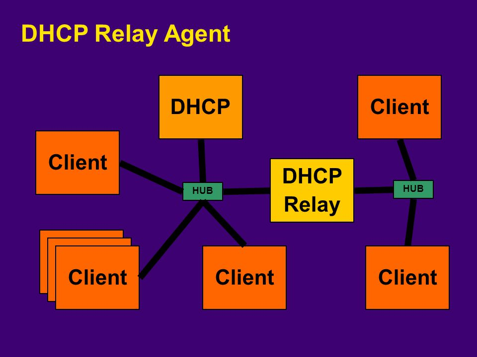 DHCP Relay Agent DHCP Client Client DHCP Relay Client Client Client