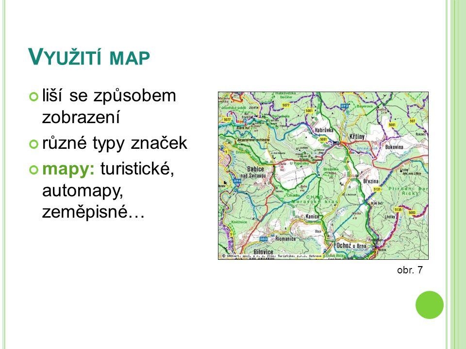 Využití map liší se způsobem zobrazení různé typy značek