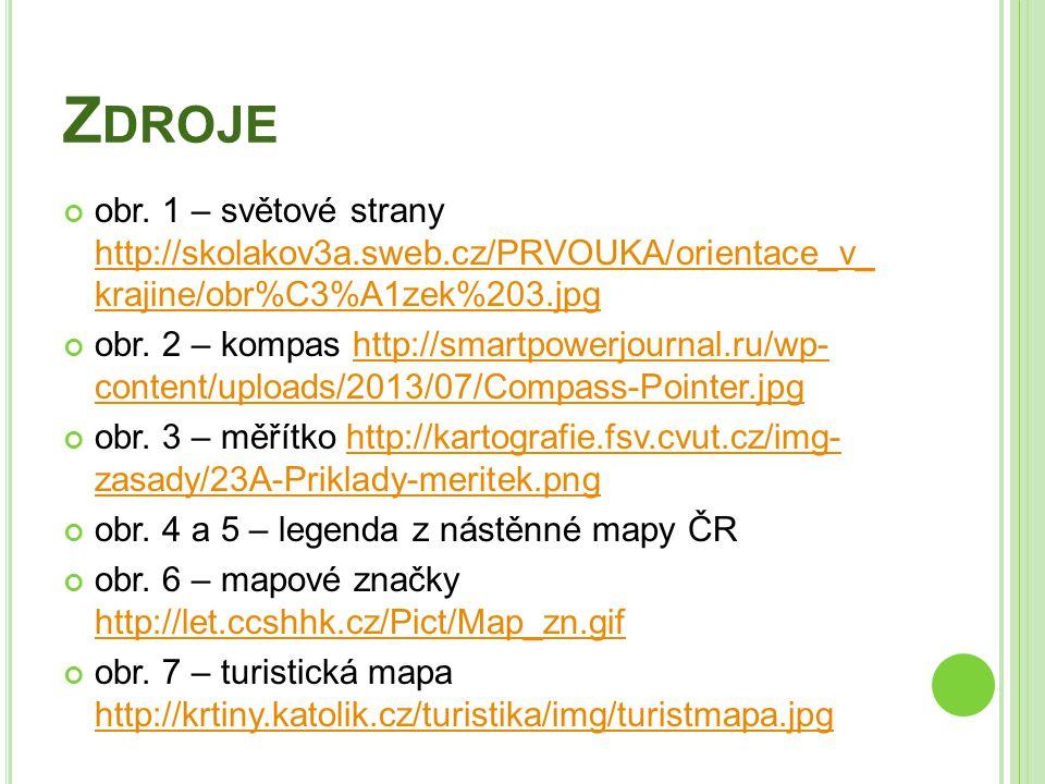 Zdroje obr. 1 – světové strany http://skolakov3a.sweb.cz/PRVOUKA/orientace_v_ krajine/obr%C3%A1zek%203.jpg.