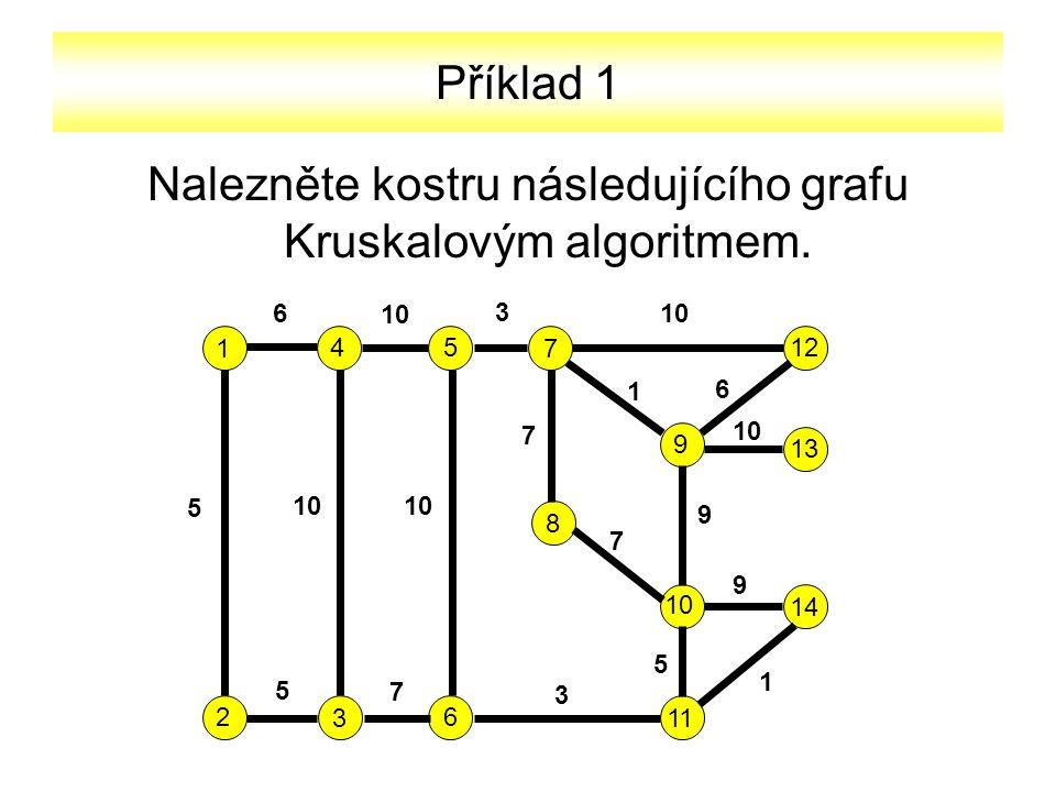 Nalezněte kostru následujícího grafu Kruskalovým algoritmem.