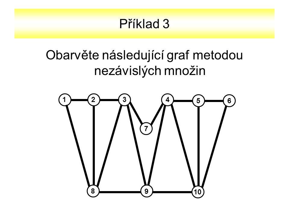 Obarvěte následující graf metodou nezávislých množin