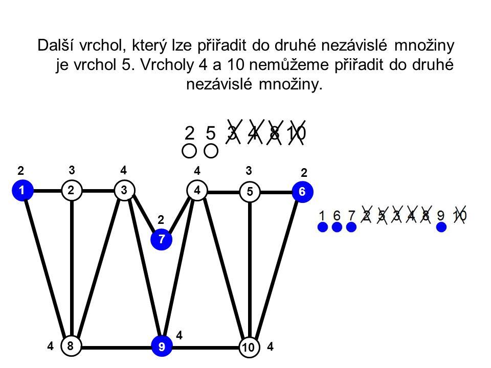 Další vrchol, který lze přiřadit do druhé nezávislé množiny je vrchol 5. Vrcholy 4 a 10 nemůžeme přiřadit do druhé nezávislé množiny.