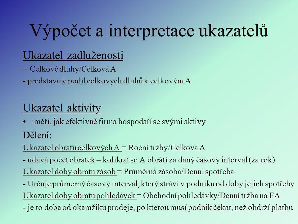 Výpočet a interpretace ukazatelů