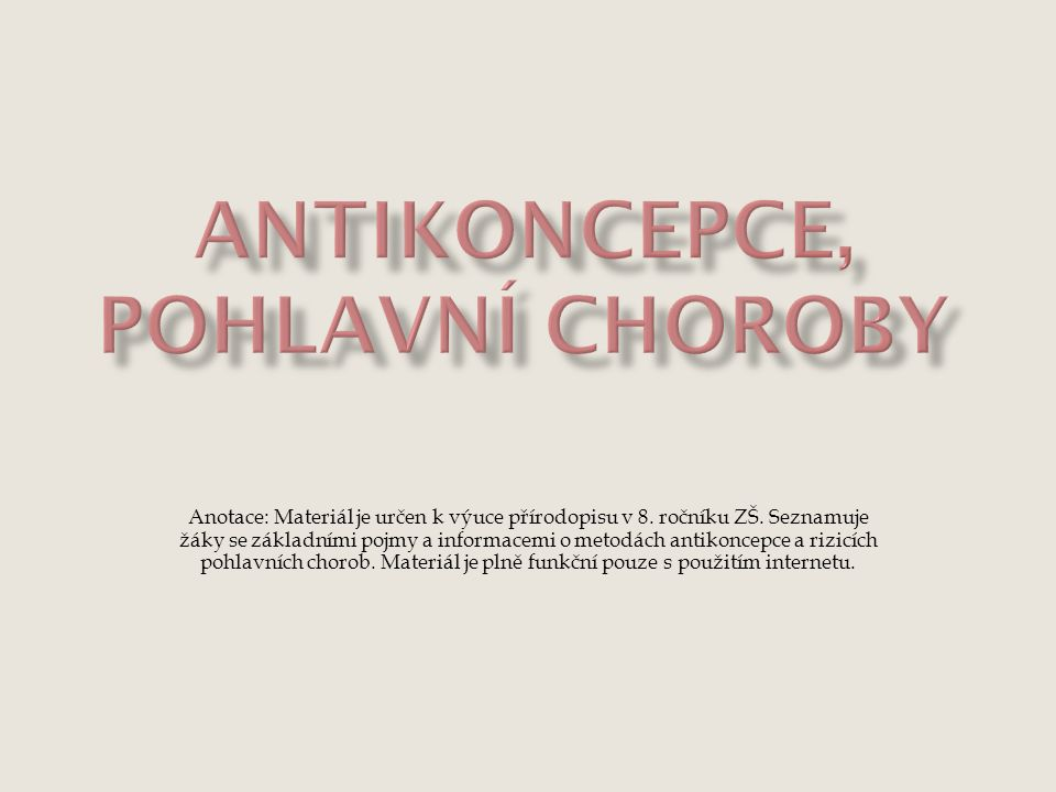 Antikoncepce, pohlavní choroby