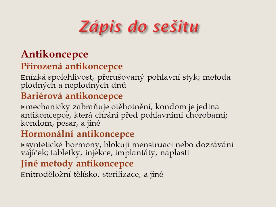 Zápis do sešitu Antikoncepce Přirozená antikoncepce