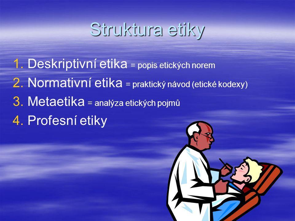 Struktura etiky Deskriptivní etika = popis etických norem