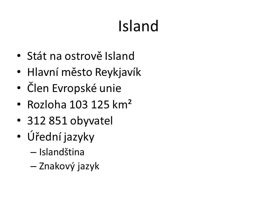 Island Stát na ostrově Island Hlavní město Reykjavík