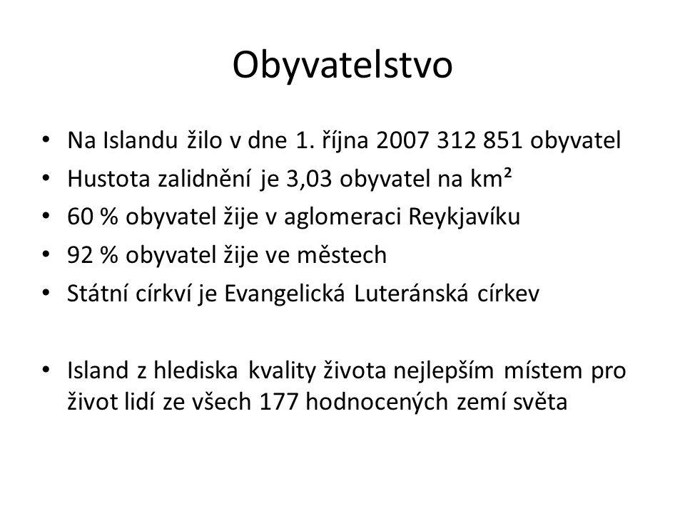 Obyvatelstvo Na Islandu žilo v dne 1. října 2007 312 851 obyvatel