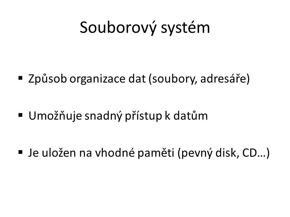 Souborový systém Způsob organizace dat (soubory, adresáře)