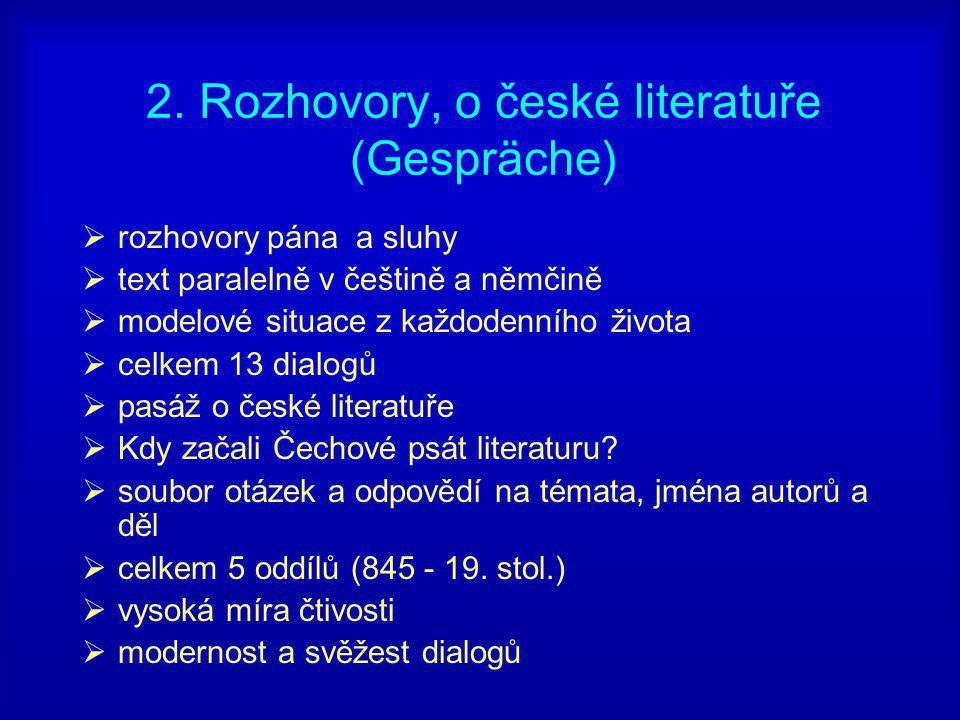 2. Rozhovory, o české literatuře (Gespräche)